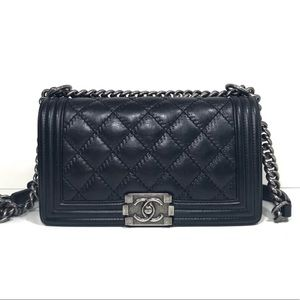 Authentic Chanel medium double stitch boy bag